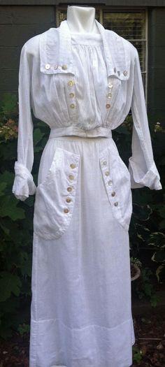 1900's Edwardian Fine White Cotton Dimity Stripe 2 Pc Outfit w/ M.O.P. Buttons