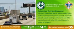 Boy Scouts of America discount for National Safety Council Defensive Driving Course. The course will cost $19.95. That's a $22 discount off the National Safety Council price ($41.95 original). $4.00 will go to BSA.