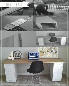 DIY Desk: poplar wood & metal corner brackets from Home Depot, Ikea file cabinets.