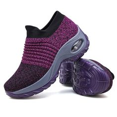 Women's Walking Shoes Sock Sneakers - Mesh Slip On Air Cushion Lady Girls Modern Jazz Dance Easy Shoes Platform Loafers Purple Stylish Walking Shoes, Baskets, Sock Shoes, Women's Shoes, Shoes Sneakers, Shoes Style, Kid Shoes, Platform Shoes, Flat Shoes