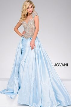 Blue Cap Sleeves Embellished Pageant Dress 40978