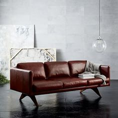 Axel 89 Quot Sofa Parc Leather Cement Mid Century Style