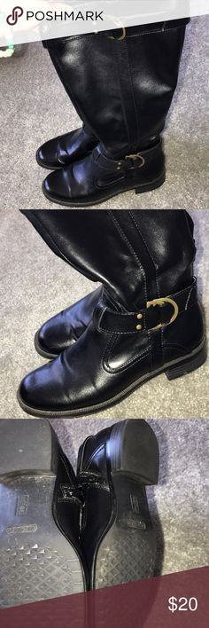 AEROSOLES Black Riding Boots Very comfortable & lightly worn (about 3 times). Black leather with gold buckle. Elastic expander for wide calves. ***WILLING TO BUNDLE WITH PTHER AEROSOLE BROWN RIDING BOOTS (in my closet) FOR $35**** AEROSOLES Shoes Over the Knee Boots