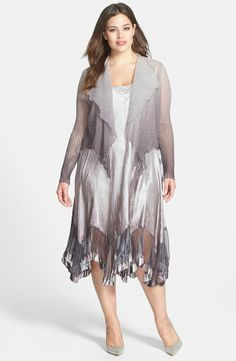 Komarov Sleeveless Satin Dress & Chiffon Jacket (Plus Size ...