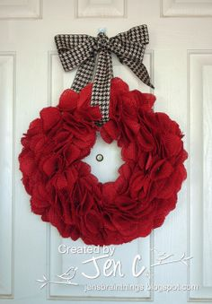 Red burlap wreath - great idea, just bought red burlap from Hobby Lobby!