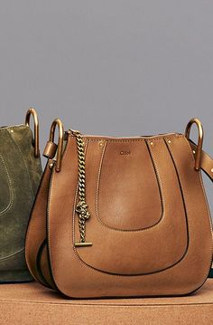 Chloé Small Hobo Hayley in smooth calfskin caramel Hobo Purses, Coach Purses, Coach Bags, Luxury Bags, Luxury Handbags, Designer Handbags, Tote Handbags, Purses And Handbags, Chloe Bag