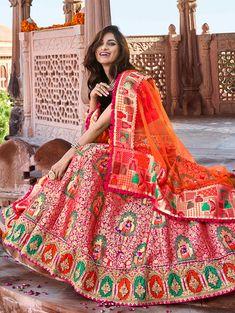 Pink Banarasi Silk Woven Lehenga Choli with Embroidered Border - OnAir. Latest Bridal Lehenga, Designer Bridal Lehenga, Indian Bridal Lehenga, Indian Bridal Outfits, Indian Designer Outfits, Indian Dresses, Lehenga Wedding, Indian Clothes, Banarasi Lehenga