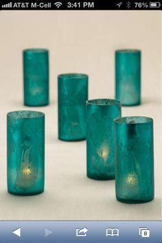 Blue candle holders #bluechristmas