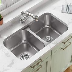 3218A 16 Gauge Double Bowl Stainless Steel Kitchen Sink and Gray SinkLink #new Laminate Countertops, Undermount Sink, Stainless Steel Kitchen, Kitchen Sink, Home Goods, Plastic, Gray, Black