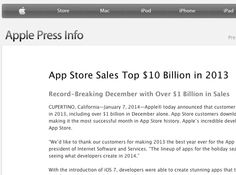 IT IS A FACT - Apple released its 2013 figures on Jan. 7 and the stats are: - $10 billion sold in the App Store ( $1 Billion in December alone!) best year to date - Candy Crush big winner ( as in Holland!) - over 1 million iPhone apps  - and 500.000 NATIVE iPad apps in Store ( so with proper artwork ;) - developers earnings $15 billion over the years to date IMPRESSIVE, can't wait to see the Play stats ...