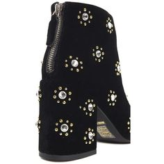 Senso Jamie Embellished Velvet Ankle Boots (945 RON) ❤ liked on Polyvore featuring shoes, boots, ankle booties, black studded boots, pointed-toe ankle boots, studded ankle boots, black bootie boots and black studded booties