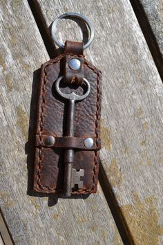 Leather Keychain with Vintage Skeleton Key Hand by KeytoStyle