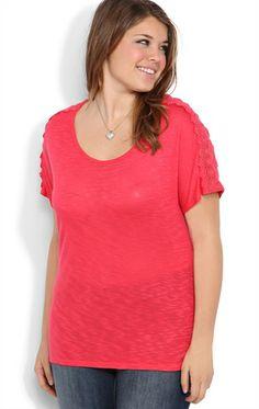 Deb Shops Plus Size Short Sleeve Top with #Crochet Trim on Shoulders  $19.42