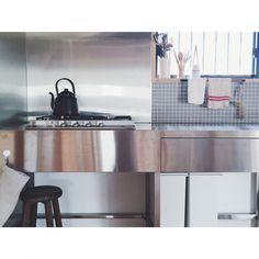 toitoitoi____さんの、サンワカンパニー,オッソ,タイル,グレー,無印良品,ステンレスキッチン,古道具,キッチン,のお部屋写真