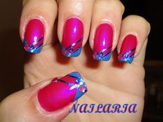 Fuchsia and blue french tip by Nailaria - Nail Art Gallery nailartgallery.nailsmag.com by Nails Magazine www.nailsmag.com #nailart