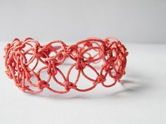 Macrame hemp bracelet lace coral salmon pink by TheRottenRooster #giftsforher #mothersday #women