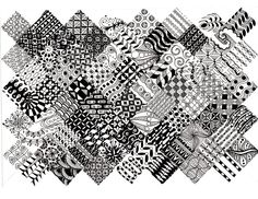 I used a black 0.1mm Copic Multiliner for most of whole thing. Some of the large areas were filled in with a 0.3mm or 0.5mm. Most of these are from the Zentangle books. A few are from various web s...