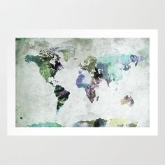 World Map Art Print by PAZWAZ - $17.00