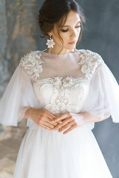 dresses tight silk AVRELIA / Pearl wedding dress with rich beautiful hand embroidery lace low back corset brautkleid ethereal tulle bridal gown short sleeves Corset Wedding Gowns, Wedding Bridesmaid Dresses, Bridal Gowns, Bridal Lace, Tulle Wedding, Wedding Cape, Mermaid Wedding, Wedding Ceremony, Bridal Corset