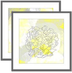 Free yellow & grey Peony printable art