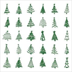 Set hand-drawn sketch Christmas and New Year tree. Vector illustration - Set hand-drawn sketch Christmas and New Year tree vector art illustration -