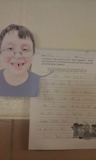 Loose tooth writing activity- add photo w/blacked out tooth, onomotopoeia, and stretched out word like Robert Munsch