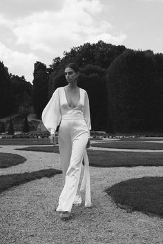 Silk Satin Wedding Jumpsuit with V Neck White Bridal, Bridal Lace, Bridal Style, Wedding Pantsuit, Wedding Dresses, Elopement Dress, Wedding Jumpsuit, Silk Jumpsuit, Gowns With Sleeves