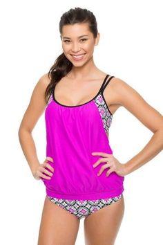d141619b48 Women Pink Lined Up Double Up Two Piece Swimwear Swimsuit Beachwear Bikini  Set  fashion