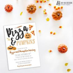 Pizza And Pumpkins Carving Party Printable 5 x 7 Invitation Pumpkin Painting Party, Pumpkin Carving Party, Pumpkin Patch Party, Pumpkin Birthday Parties, Boy Birthday Parties, Fourth Birthday, Birthday Ideas, Printable Invitations, Party Printables