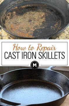 Cleaning a cast iron skillet and reseasoning it for a great nonstick surface. You can return a rusted and old cast iron skillet to almost new! Great on Griswald cast iron skillets! Deep Cleaning Tips, House Cleaning Tips, Diy Cleaning Products, Cleaning Hacks, Diy Hacks, Cleaning Solutions, Cleaning Recipes, Cleaning Supplies, Cast Iron Care