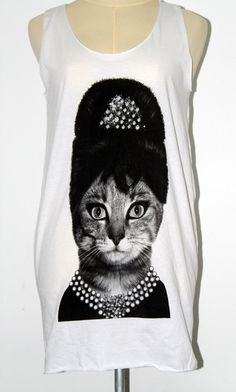 The Cute Lady Queen Cat Animal White Tunic Tank Top by Tshirt99, $15.99    This makes me think of my daughter, Savannah Rae. :o)