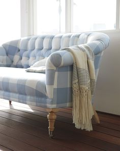 A gingham loveseat for the living room | Paxton Tufted Loveseat via Serena and Lily