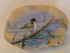 Handpainted-COMMON-LOON-Small-Rock-1