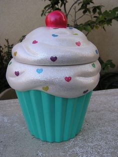 Rainbow Turquoise Love Cupcake Jar by whitedovecrafts on Etsy  Delightfully sweet, delicious cupcake decor to adore that will never melt.