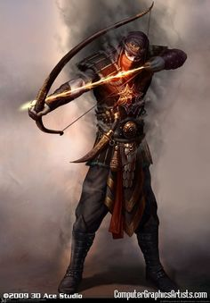 Archer of Fire  - or a rogue/ranger wielding Hanks Energy Bow while having some sort of 'Smoking' armor enhancement activated...