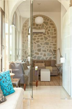 Glass wall, stone, eclectic