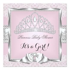 "Princess Baby Shower Girl Pink Silver Lace 3 5.25"" Square Invitation Card"