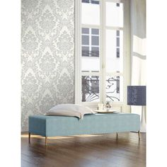 Papier peint imprimé Piece A Vivre, Bedroom, Design, Furniture, Home Decor, Style, Collection, Products, White And Silver Wallpaper