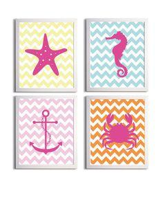 baby room themes  beachy | Nursery Art Chevron Beach Ocean Sea Orange Pink ... | Baby's Room Ide ...