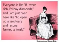 "Everyone is like ""if I were rich, I'd buy diamonds,"" but I am just over here like ""I'd open up a sanctuary and rescue farmed animals"""