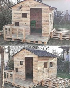 Wood Pallets Here is another great idea of creating a playing place for the kids, a person needs to spend just a few days to create this kids playhouse shed; but it will make the area look amazing. Kids will surely love the playhouse. Pallet Playhouse, Build A Playhouse, Backyard Playhouse, Boys Playhouse, Backyard Kids, Woodworking Projects Diy, Woodworking Plans, Diy Projects, Pallet Projects