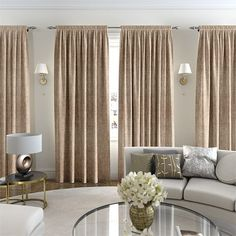 Our curtains are made to measure to fit your windows perfectly and with hundreds of fabrics to choose from we hope you'll be spoilt for choice. Orange Curtains, Gold Curtains, Window Curtains, Bedroom Curtains, Cottage Lounge, Natural Curtains, Curtain Material, Made To Measure Curtains, Gold Interior