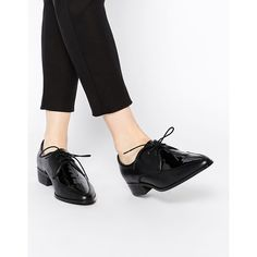 ASOS MERIT Flat Shoes ($54) ❤ liked on Polyvore featuring shoes, flats, black, black pointy toe flats, black lace up shoes, black shoes, black lace up flats and black flat shoes