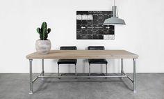 Bauholz Tisch mit Untergestell aus Grüstrohr  Küche | Wohnideen | Wohnzimmer | Büro | Garten | Tisch | Esszimmer | Einrichtung | Idee | Industriedesign | Bauholz | Einrichtunsideen