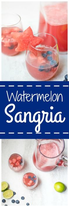 Watermelon Sangria: Fresh watermelon and lime juice are mixed up with crisp white wine and seltzer water for a Summer Sangria. #SundaySupper
