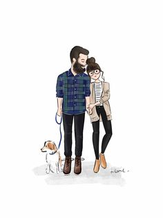 Paar Illustration, Abstract Illustration, Family Illustration, Portrait Illustration, Cute Couple Art, Cute Couples, Couple Drawings, Art Drawings, Doodle Drawing