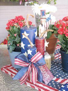 "Let the celebration begin!  - 10"" Americana Wooden Firecrackers."