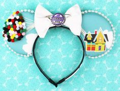 Floating House Mouse Ear Headband with Bow by ModernMouseBoutique