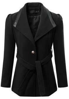 Super Cute! Clean and Simple Lines! Love the Collar and the Silver Button! Black Plain Belt Wool Coat