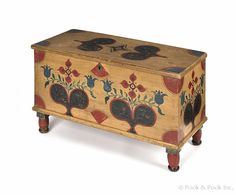 """David Ellinger (American 1913-2003), painted pine diminutive blanket chest, signed on lid and dated 1957, 20"""" h., 31 1/2"""" w.  Estimate: $500–$1000  Realized Price: $4029"""